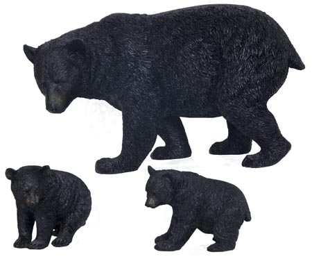 Bear Mother and Two Cubs Walking