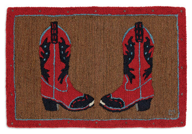 COWBOY BOOTS RED ON BROWN