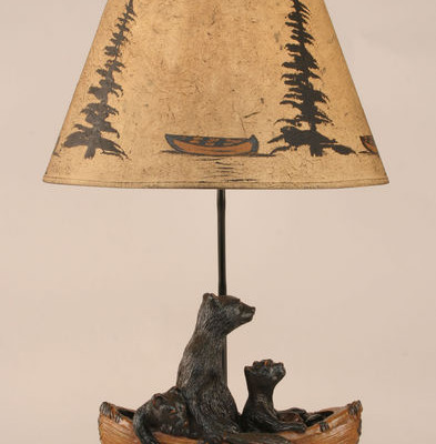 Bear Family in Canoe Lamp 2