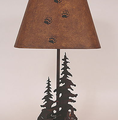 Feather Trees with Bear by Campfire